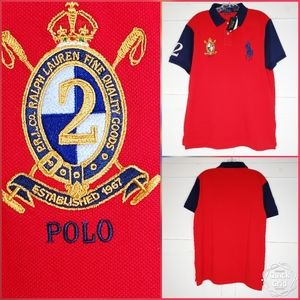 Polo Ralph Lauren Red Rugby Shirt Big Pony Slim